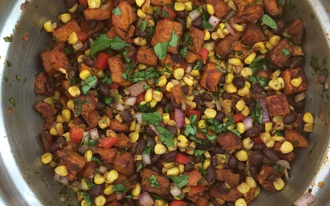 Sweet Potato, Corn and Black Bean Salad with Chipotle Lime Dressing