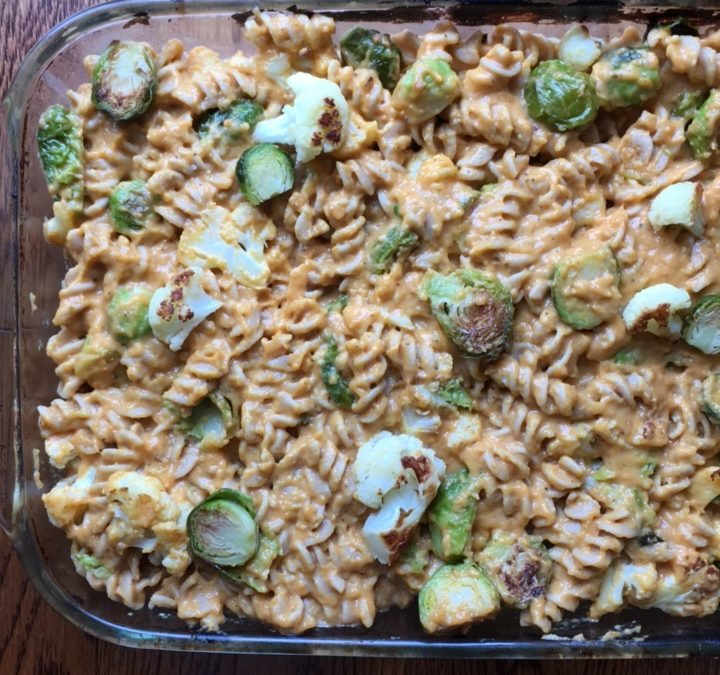 Pumpkin Mac and Cheese with Roasted Brussels Sprouts and Cauliflower